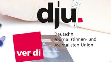 Logo der dju in ver.di, Screenshot der Imagebroschüre der dju in ver.di