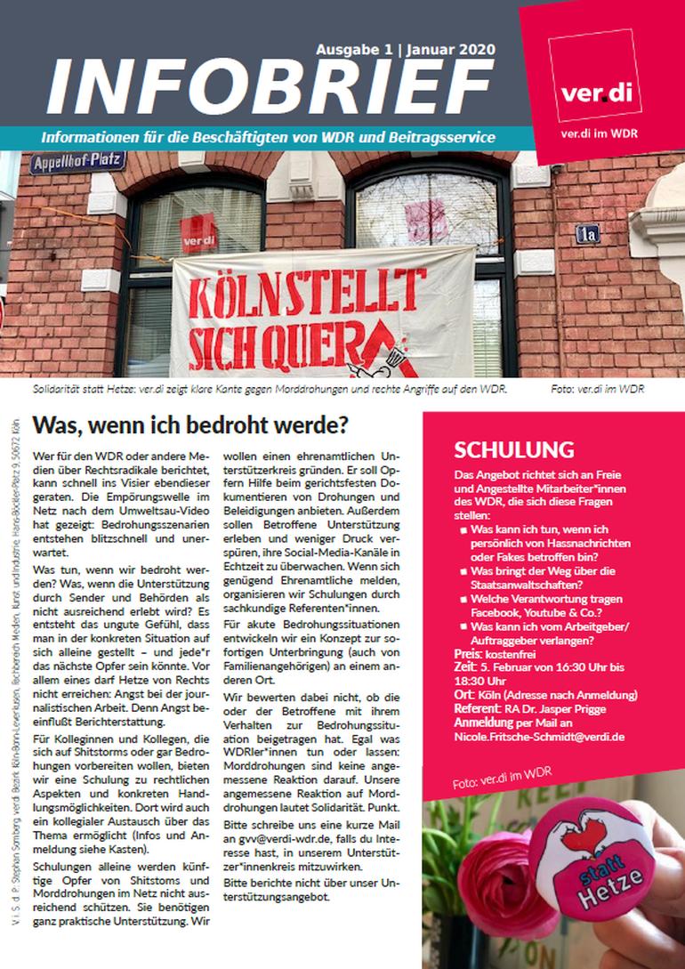 Vorschau, INfobrief, ver.di, WDR, ZBS, Köln, NRW